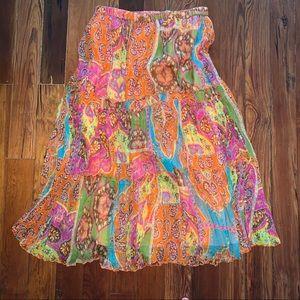 Peter Nygard colorful silk skirt